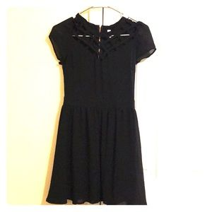 Women's Black Flowy Lattice Front Dress